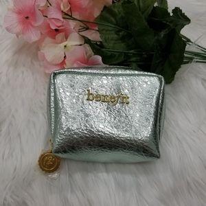 Benefit Small Metallic Green Makeup Cosmetic Bag,